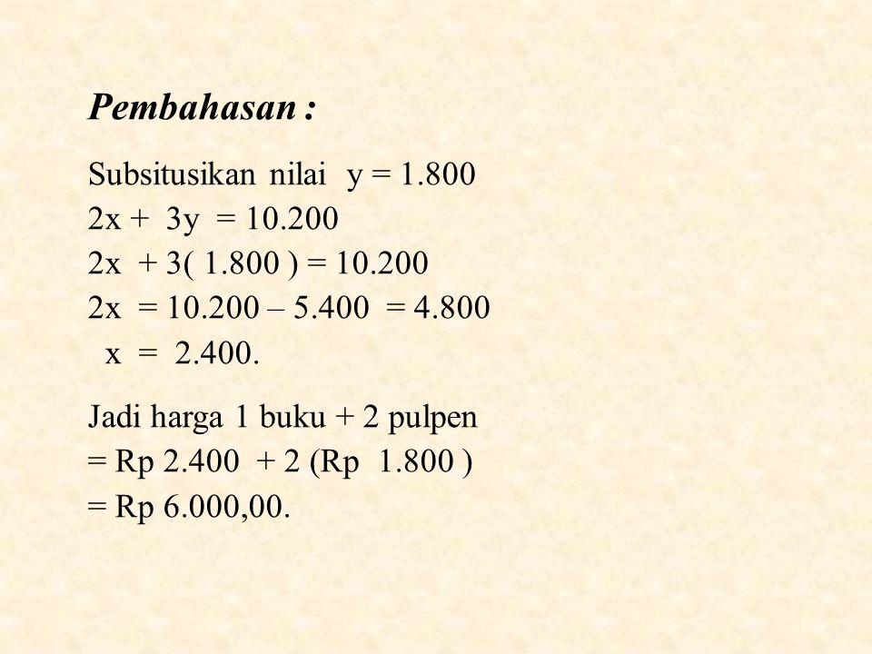 Pembahasan : Subsitusikan nilai y = 1.800 2x + 3y = 10.200