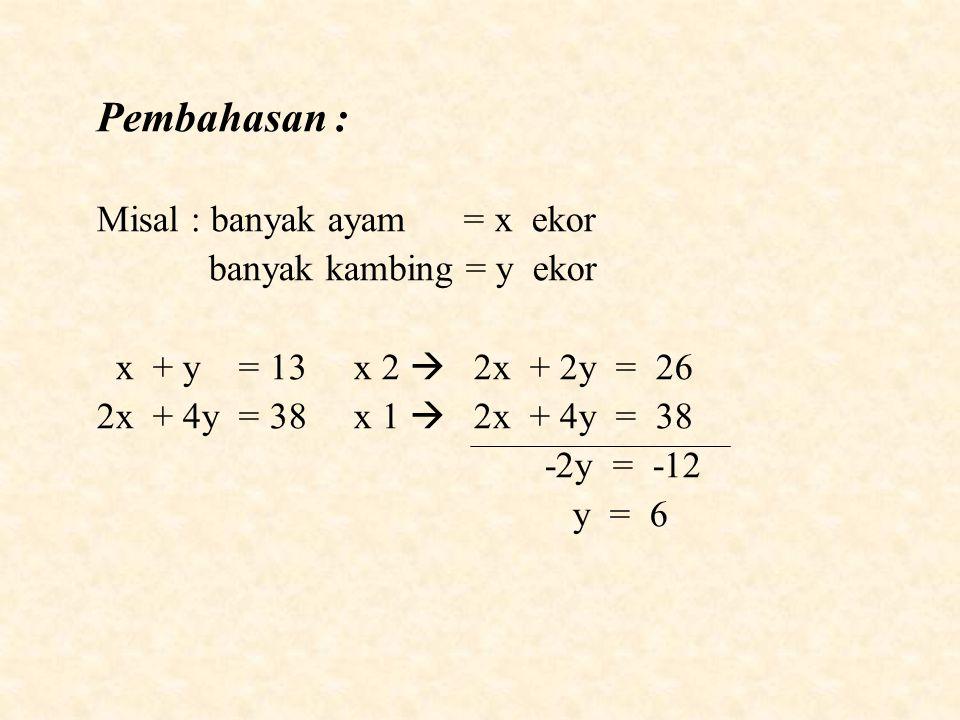 Pembahasan : Misal : banyak ayam = x ekor banyak kambing = y ekor
