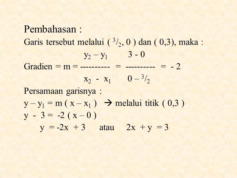 Pembahasan : Garis tersebut melalui ( 3/2, 0 ) dan ( 0,3), maka :