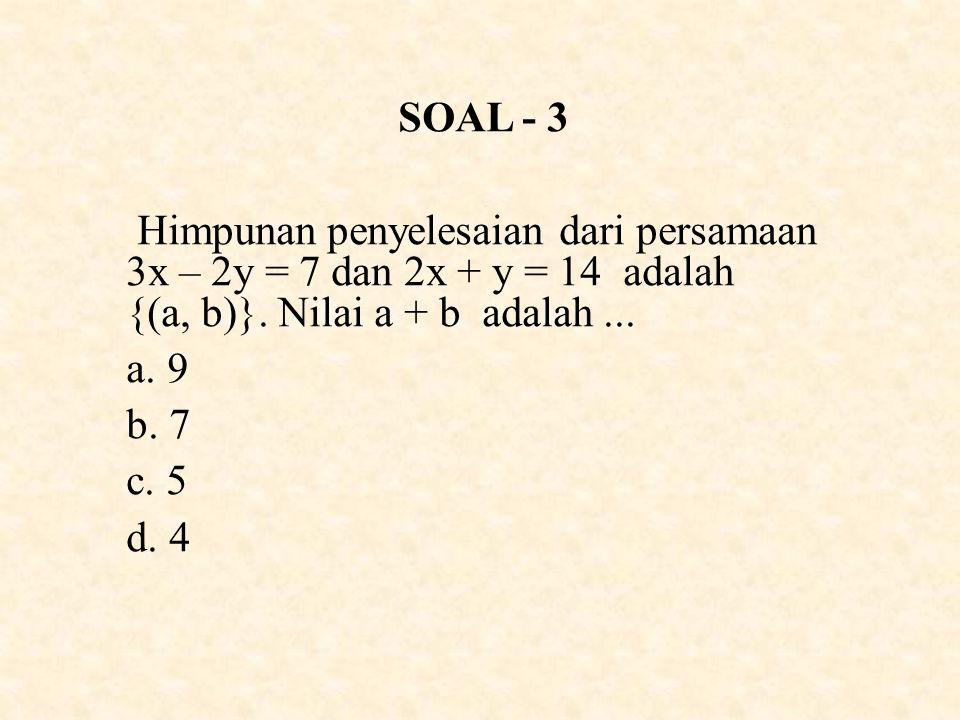 SOAL - 3 Himpunan penyelesaian dari persamaan 3x – 2y = 7 dan 2x + y = 14 adalah {(a, b)}. Nilai a + b adalah ...