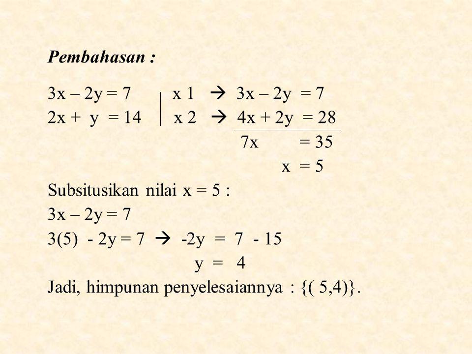 Pembahasan : 3x – 2y = 7 x 1  3x – 2y = 7. 2x + y = 14 x 2  4x + 2y = 28.