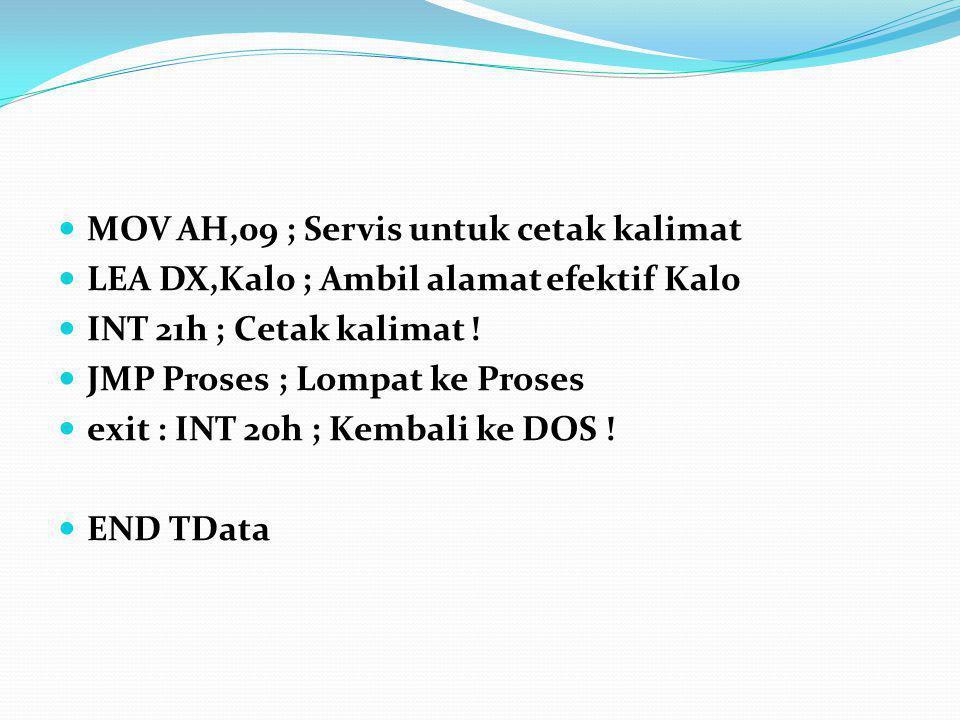 MOV AH,09 ; Servis untuk cetak kalimat