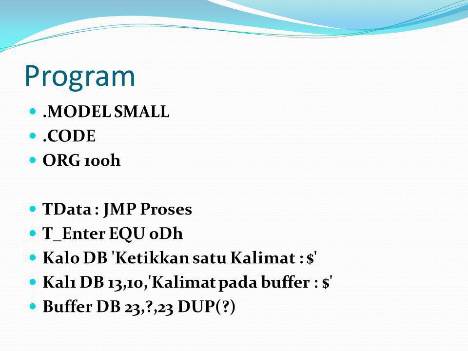 Program .MODEL SMALL .CODE ORG 100h TData : JMP Proses T_Enter EQU 0Dh
