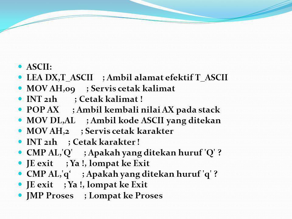 ASCII: LEA DX,T_ASCII ; Ambil alamat efektif T_ASCII. MOV AH,09 ; Servis cetak kalimat. INT 21h ; Cetak kalimat !