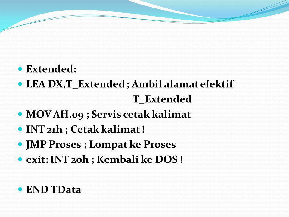 Extended: LEA DX,T_Extended ; Ambil alamat efektif. T_Extended. MOV AH,09 ; Servis cetak kalimat.