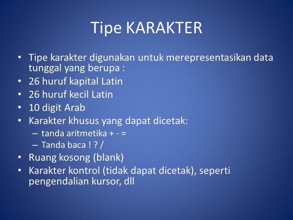 Tipe KARAKTER Tipe karakter digunakan untuk merepresentasikan data tunggal yang berupa : 26 huruf kapital Latin.