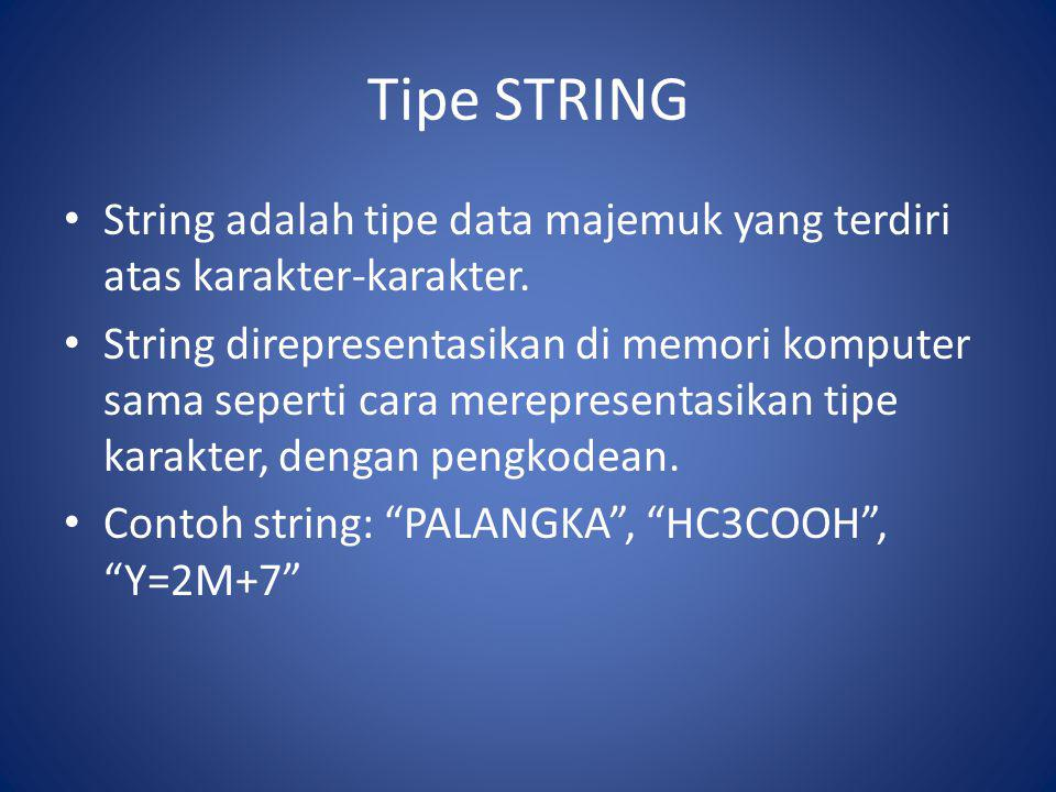 Tipe STRING String adalah tipe data majemuk yang terdiri atas karakter-karakter.