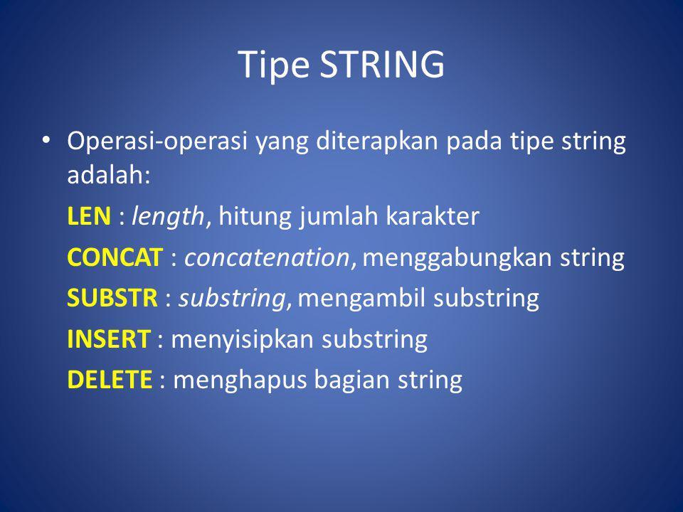 Tipe STRING Operasi-operasi yang diterapkan pada tipe string adalah: