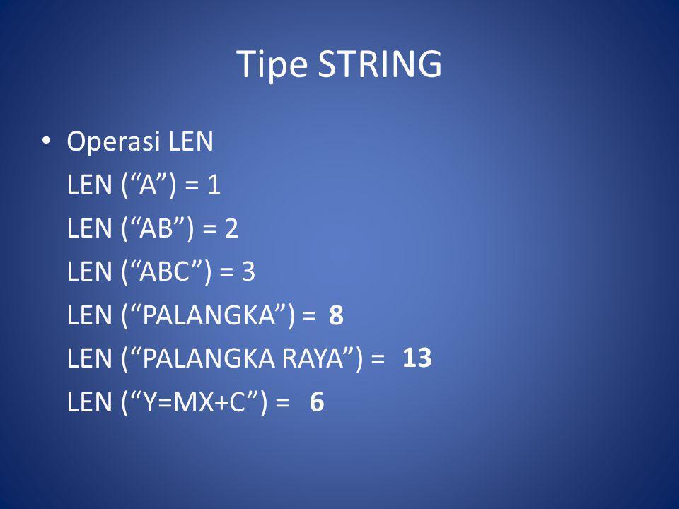 Tipe STRING Operasi LEN LEN ( A ) = 1 LEN ( AB ) = 2 LEN ( ABC ) = 3