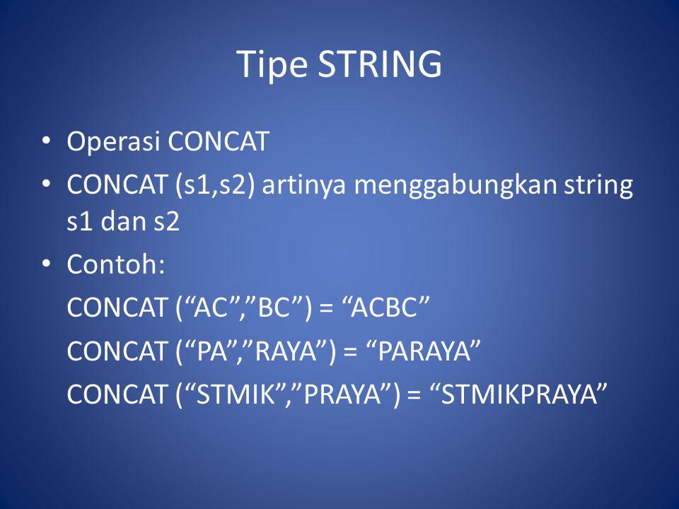 Tipe STRING Operasi CONCAT