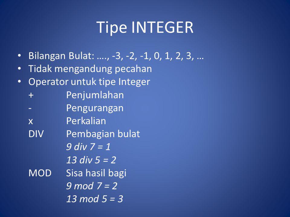 Tipe INTEGER Bilangan Bulat: …., -3, -2, -1, 0, 1, 2, 3, …