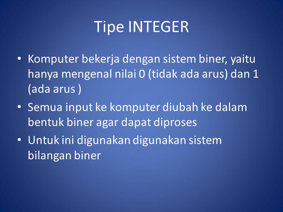 Tipe INTEGER Komputer bekerja dengan sistem biner, yaitu hanya mengenal nilai 0 (tidak ada arus) dan 1 (ada arus )