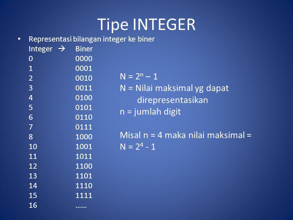 Tipe INTEGER N = 2n – 1 N = Nilai maksimal yg dapat direpresentasikan