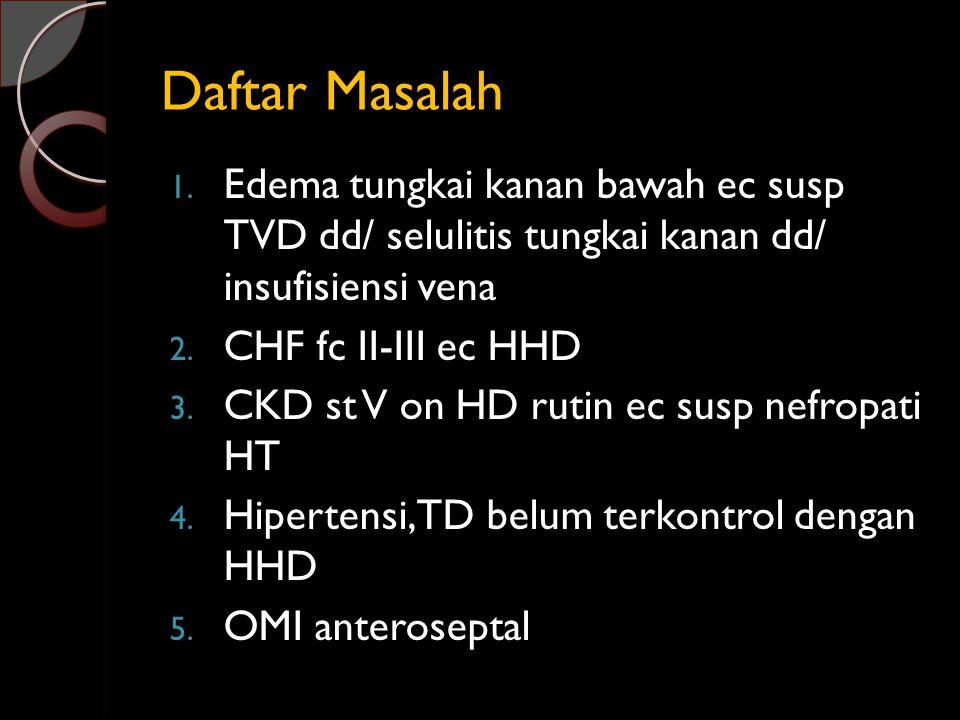 Daftar Masalah Edema tungkai kanan bawah ec susp TVD dd/ selulitis tungkai kanan dd/ insufisiensi vena.