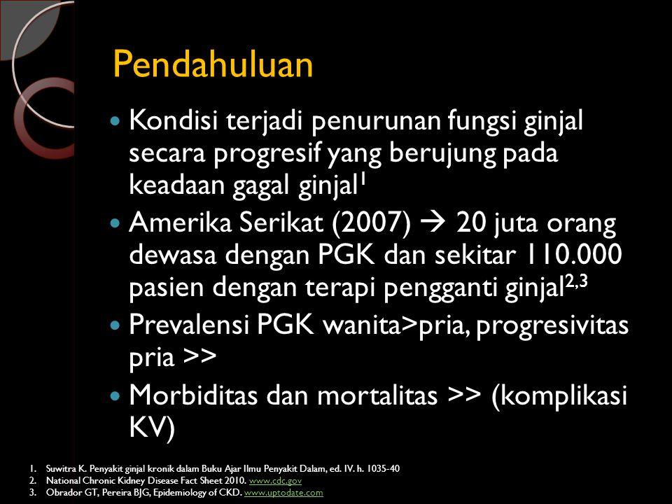 Pendahuluan Kondisi terjadi penurunan fungsi ginjal secara progresif yang berujung pada keadaan gagal ginjal1.