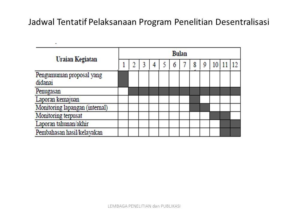 Jadwal Tentatif Pelaksanaan Program Penelitian Desentralisasi