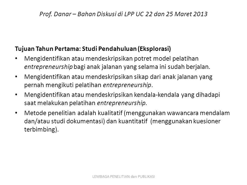Prof. Danar – Bahan Diskusi di LPP UC 22 dan 25 Maret 2013