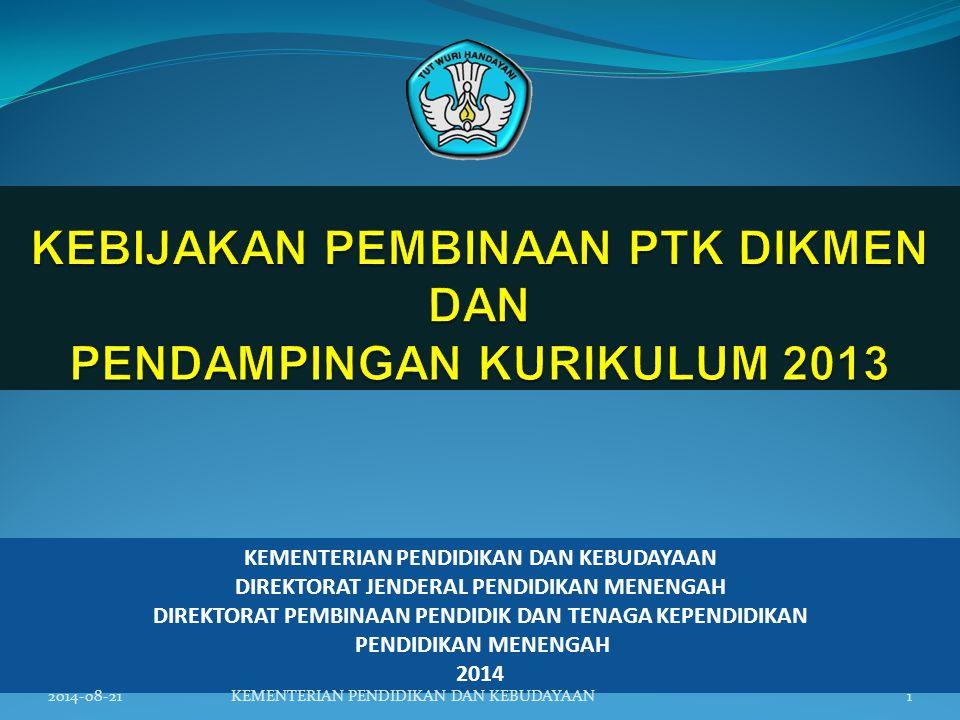 KEBIJAKAN PEMBINAAN PTK DIKMEN DAN PENDAMPINGAN KURIKULUM 2013