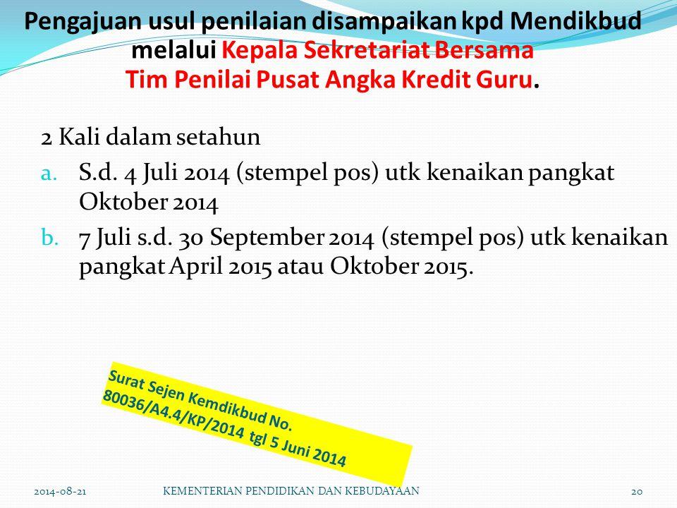 Surat Sejen Kemdikbud No. 80036/A4.4/KP/2014 tgl 5 Juni 2014