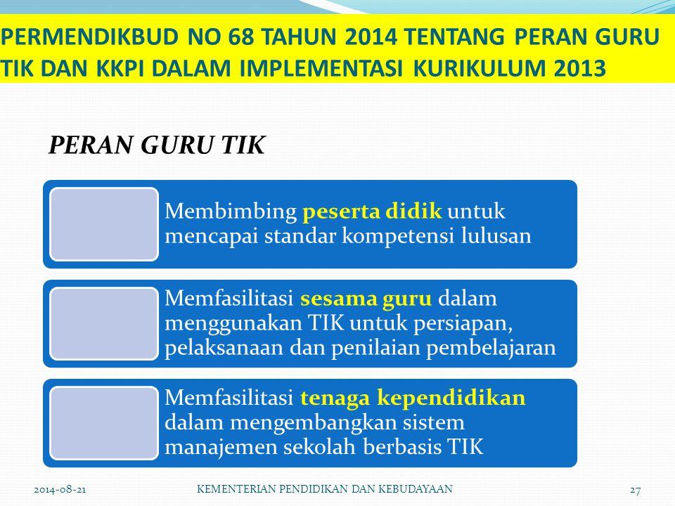 PERMENDIKBUD NO 68 TAHUN 2014 TENTANG PERAN GURU TIK DAN KKPI DALAM IMPLEMENTASI KURIKULUM 2013