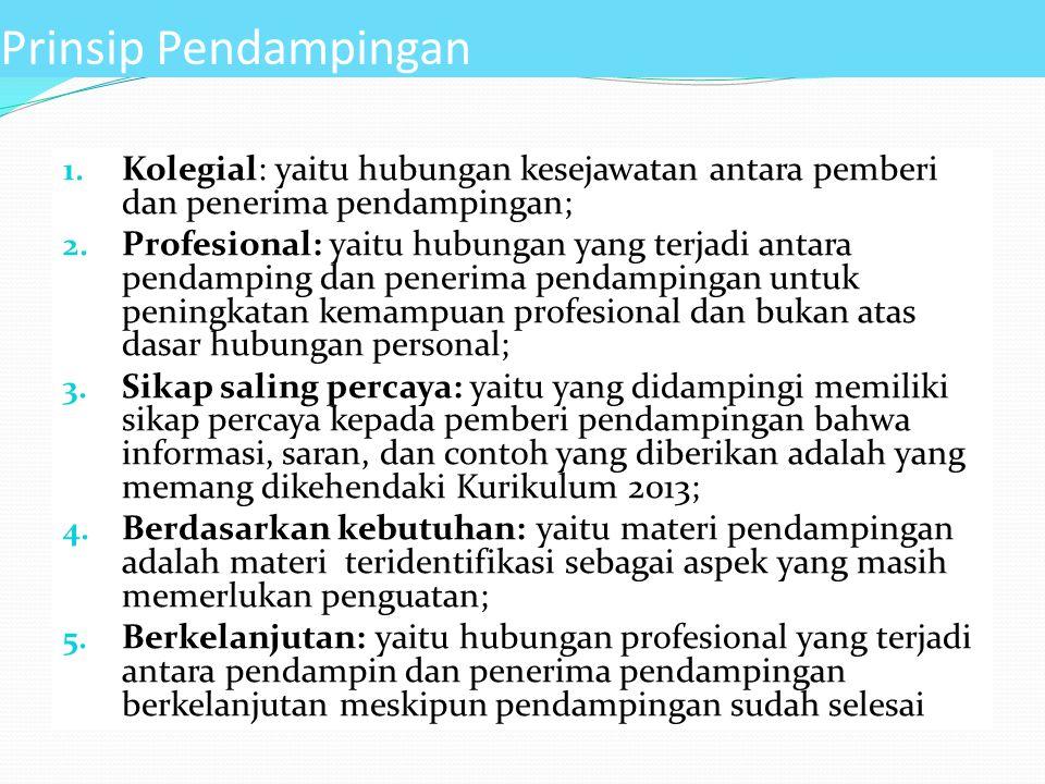 Prinsip Pendampingan Kolegial: yaitu hubungan kesejawatan antara pemberi dan penerima pendampingan;