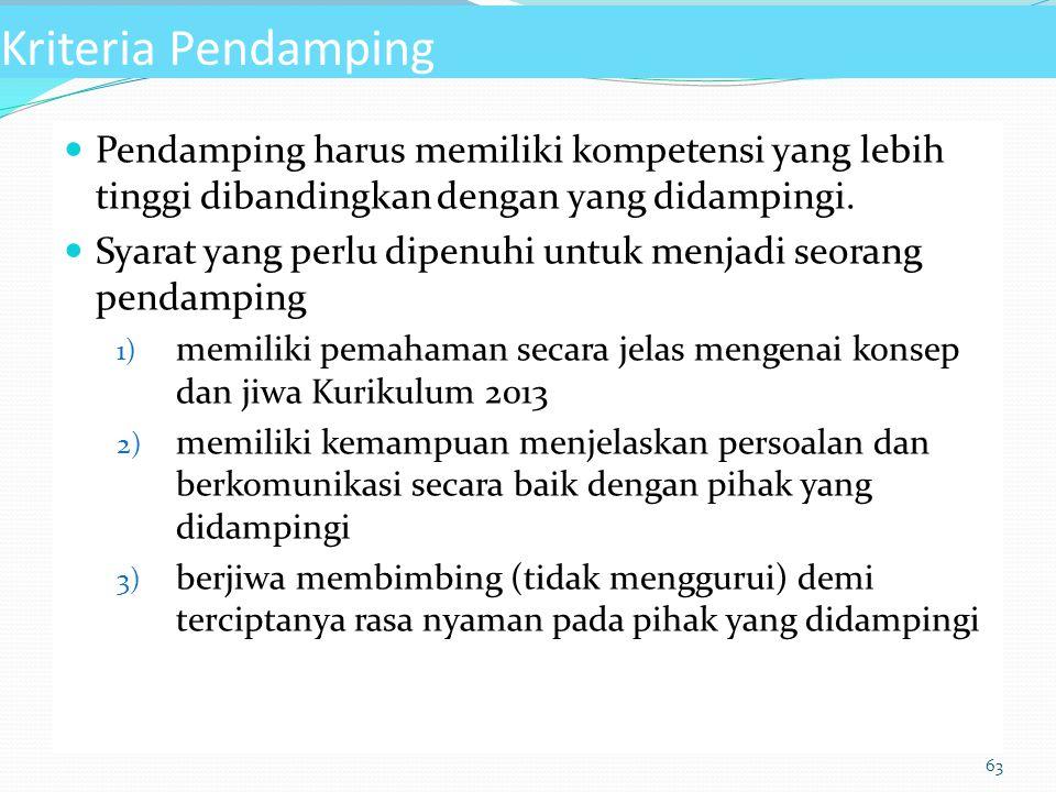 Kriteria Pendamping Pendamping harus memiliki kompetensi yang lebih tinggi dibandingkan dengan yang didampingi.