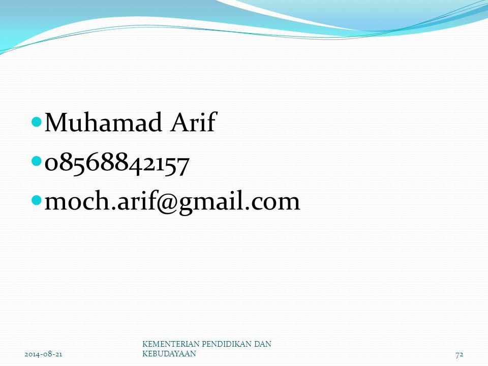 Muhamad Arif 08568842157 moch.arif@gmail.com