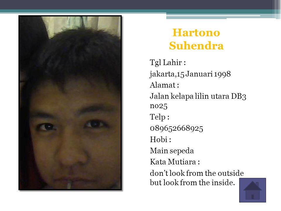 Hartono Suhendra Tgl Lahir : jakarta,15 Januari 1998 Alamat :