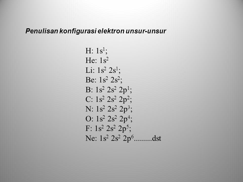 H: 1s1; He: 1s2 Li: 1s2 2s1; Be: 1s2 2s2; B: 1s2 2s2 2p1;