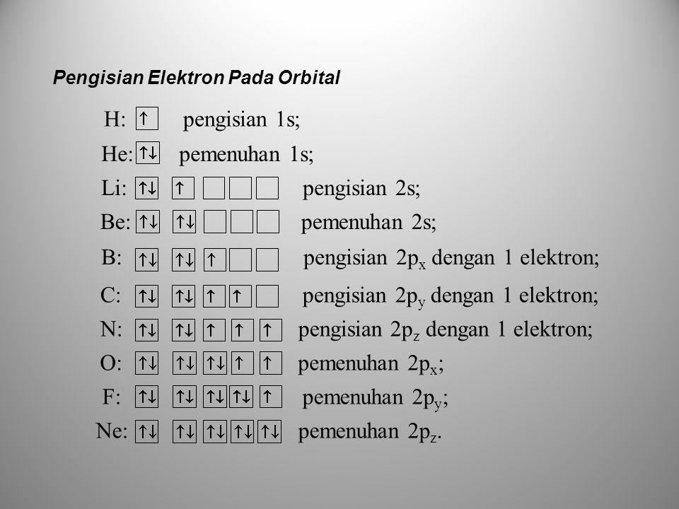 B: pengisian 2px dengan 1 elektron;