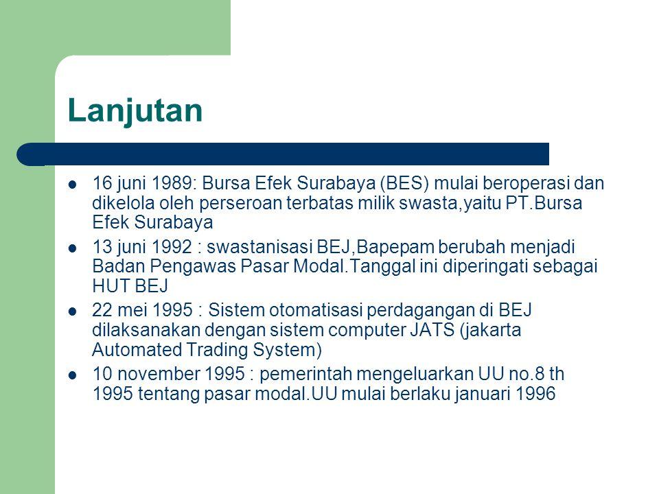 Lanjutan 16 juni 1989: Bursa Efek Surabaya (BES) mulai beroperasi dan dikelola oleh perseroan terbatas milik swasta,yaitu PT.Bursa Efek Surabaya.
