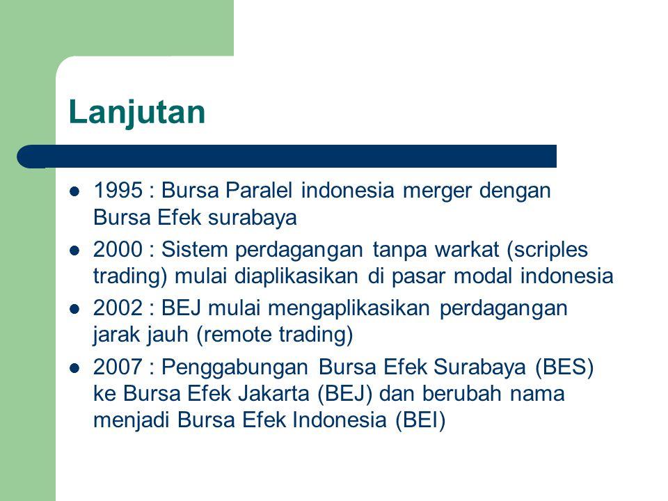 Lanjutan 1995 : Bursa Paralel indonesia merger dengan Bursa Efek surabaya.