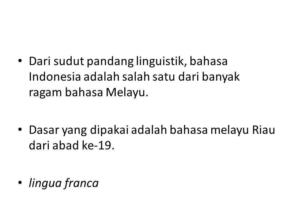 Dari sudut pandang linguistik, bahasa Indonesia adalah salah satu dari banyak ragam bahasa Melayu.