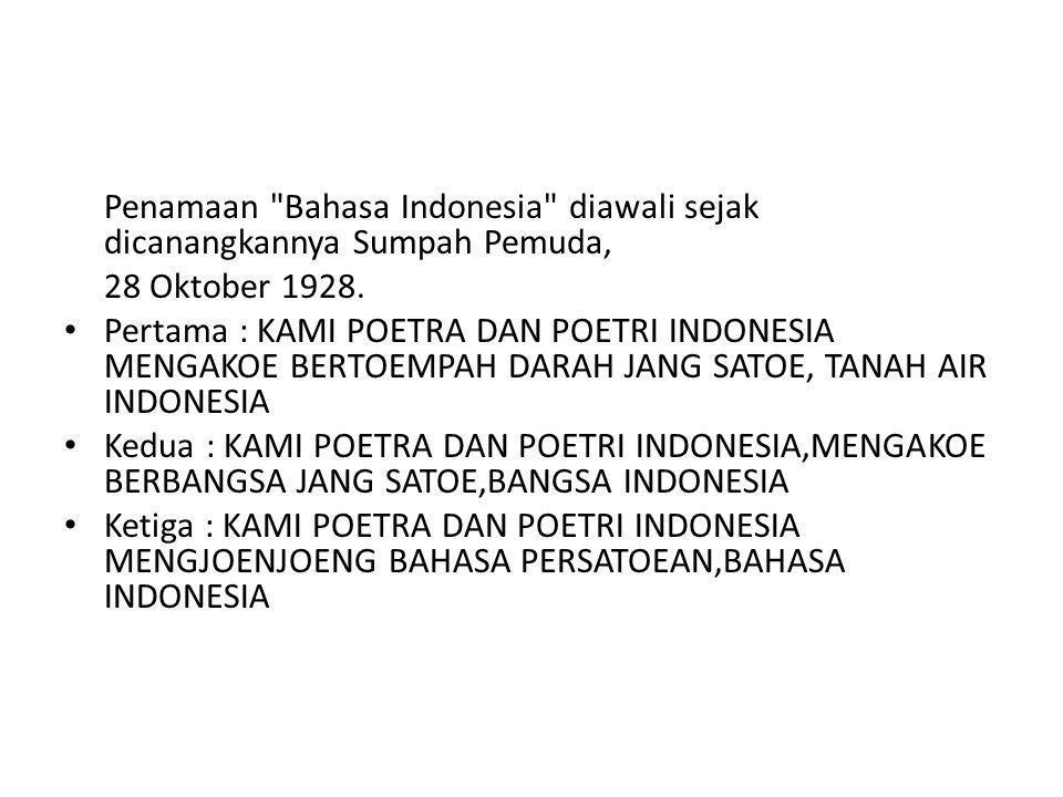 Penamaan Bahasa Indonesia diawali sejak dicanangkannya Sumpah Pemuda,