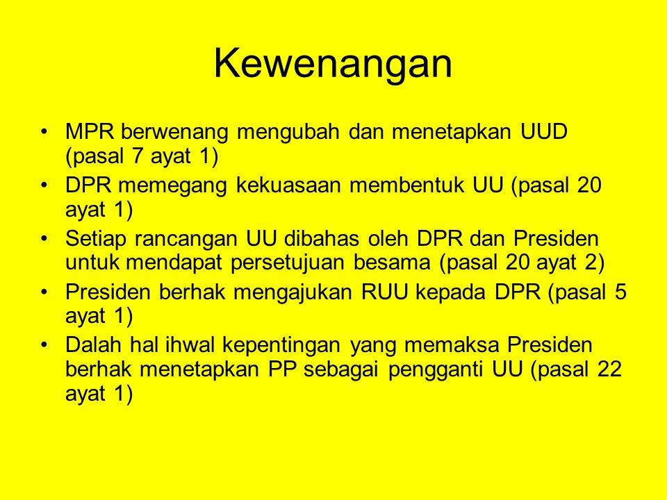 Kewenangan MPR berwenang mengubah dan menetapkan UUD (pasal 7 ayat 1)