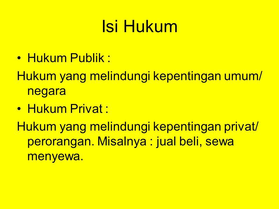 Isi Hukum Hukum Publik :
