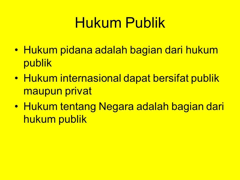 Hukum Publik Hukum pidana adalah bagian dari hukum publik