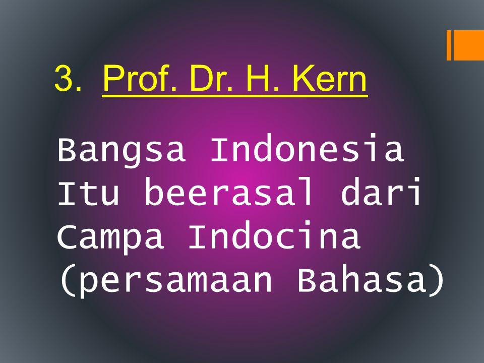 Prof. Dr. H. Kern Bangsa Indonesia Itu beerasal dari Campa Indocina (persamaan Bahasa)