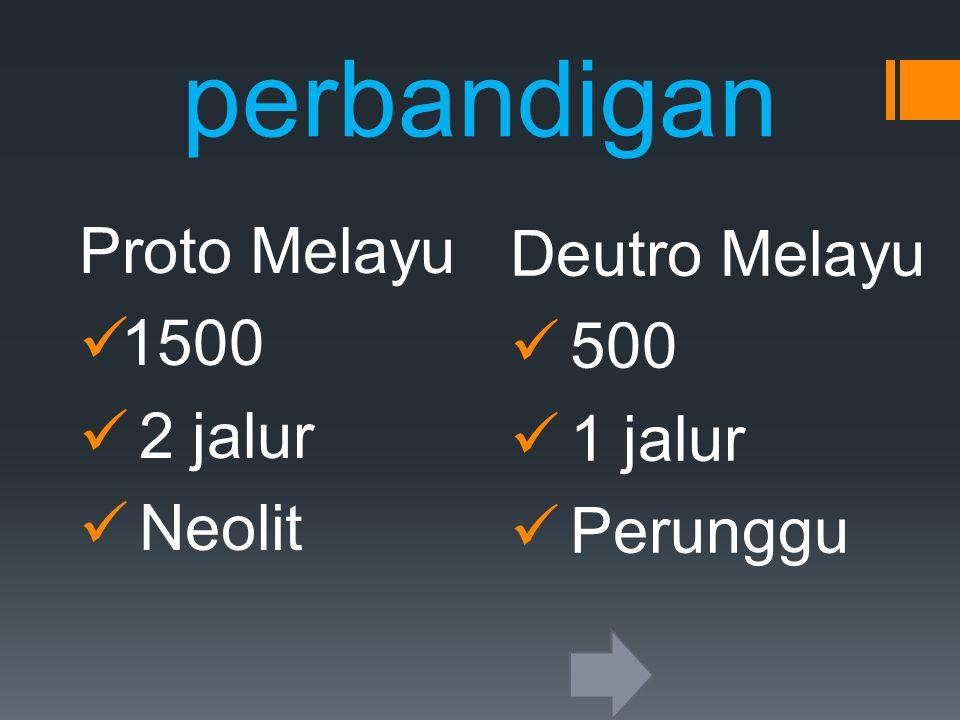 perbandigan Proto Melayu Deutro Melayu 1500 500 2 jalur 1 jalur Neolit