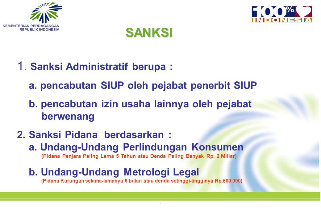SANKSI 1. Sanksi Administratif berupa :