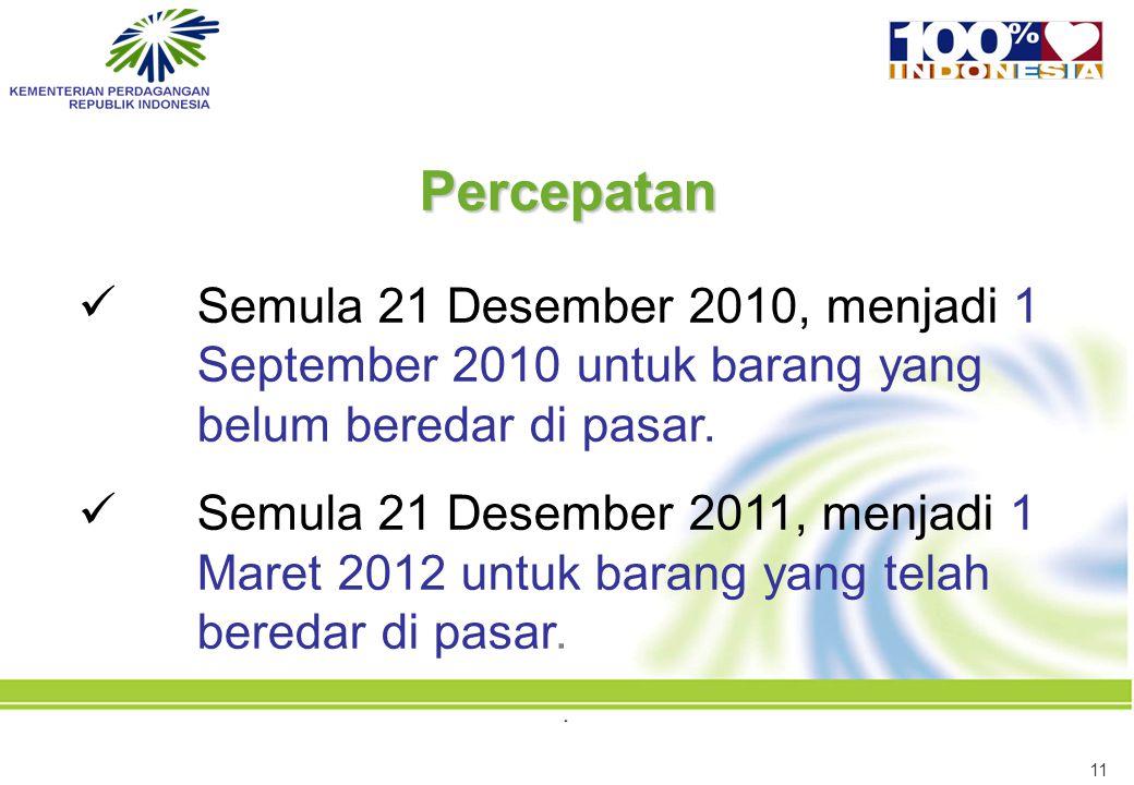 Percepatan Semula 21 Desember 2010, menjadi 1 September 2010 untuk barang yang belum beredar di pasar.