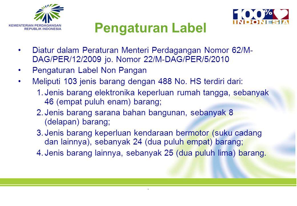Pengaturan Label Diatur dalam Peraturan Menteri Perdagangan Nomor 62/M-DAG/PER/12/2009 jo. Nomor 22/M-DAG/PER/5/2010.