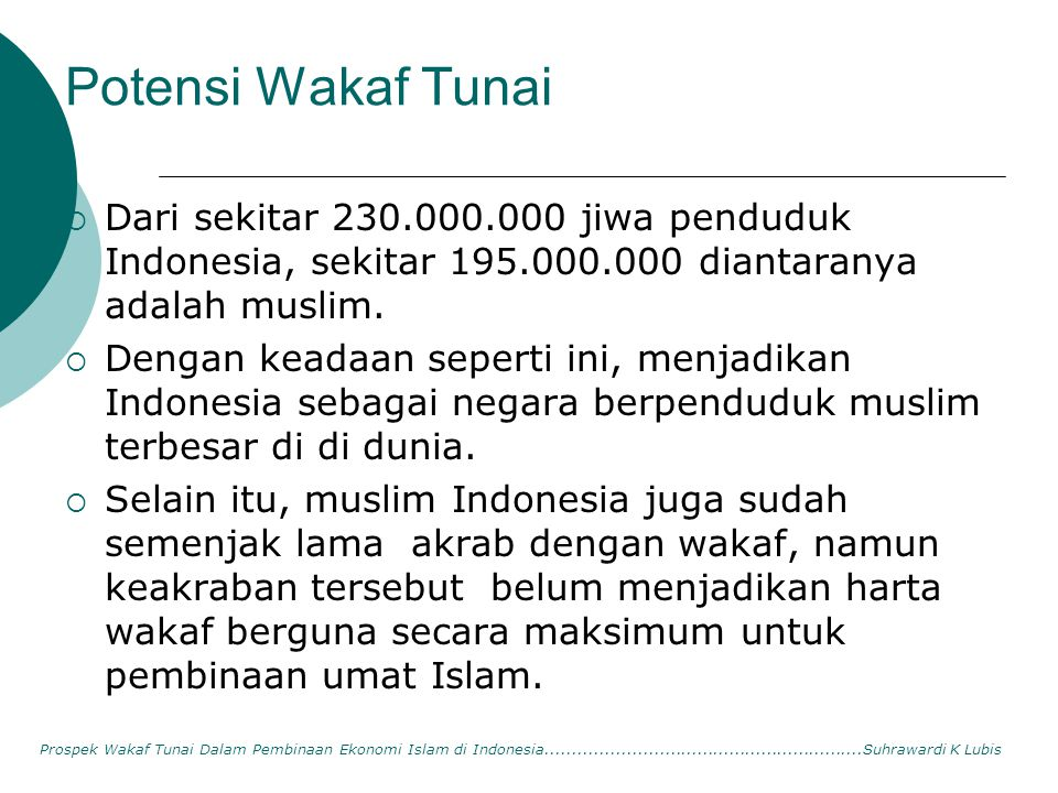 Potensi Wakaf Tunai Dari sekitar 230.000.000 jiwa penduduk Indonesia, sekitar 195.000.000 diantaranya adalah muslim.