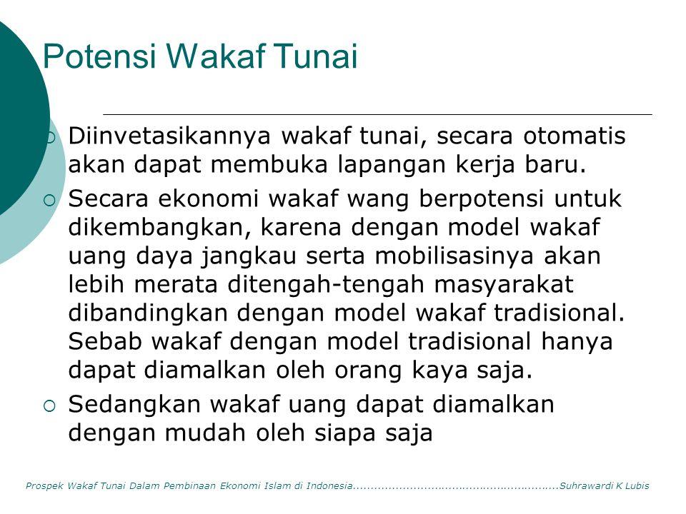 Potensi Wakaf Tunai Diinvetasikannya wakaf tunai, secara otomatis akan dapat membuka lapangan kerja baru.