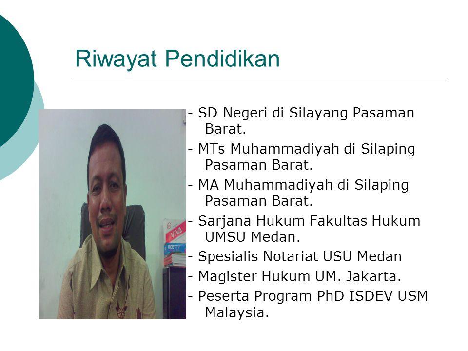 Riwayat Pendidikan - SD Negeri di Silayang Pasaman Barat.