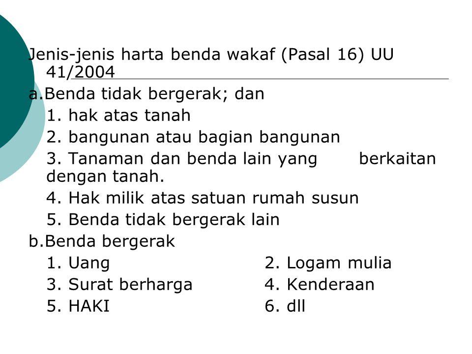 Jenis-jenis harta benda wakaf (Pasal 16) UU 41/2004