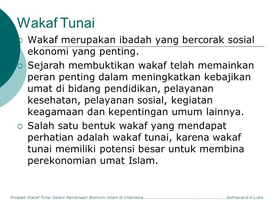 Wakaf Tunai Wakaf merupakan ibadah yang bercorak sosial ekonomi yang penting.