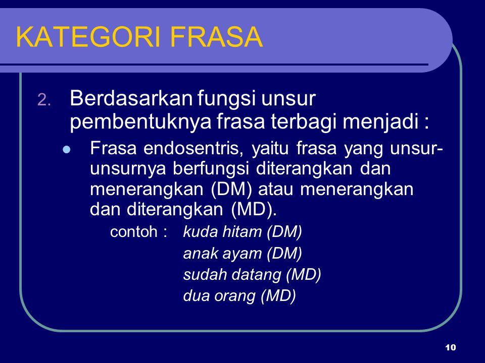 KATEGORI FRASA Berdasarkan fungsi unsur pembentuknya frasa terbagi menjadi :