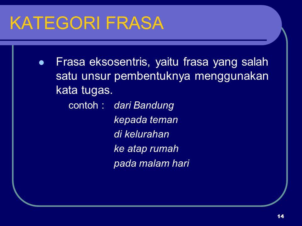 KATEGORI FRASA Frasa eksosentris, yaitu frasa yang salah satu unsur pembentuknya menggunakan kata tugas.