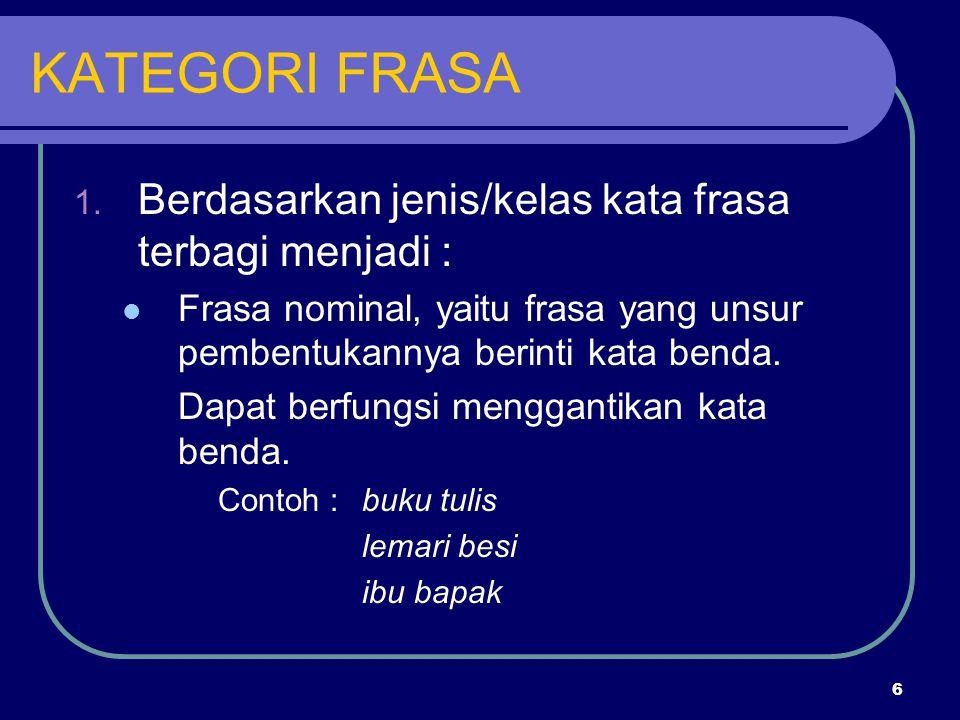 KATEGORI FRASA Berdasarkan jenis/kelas kata frasa terbagi menjadi :